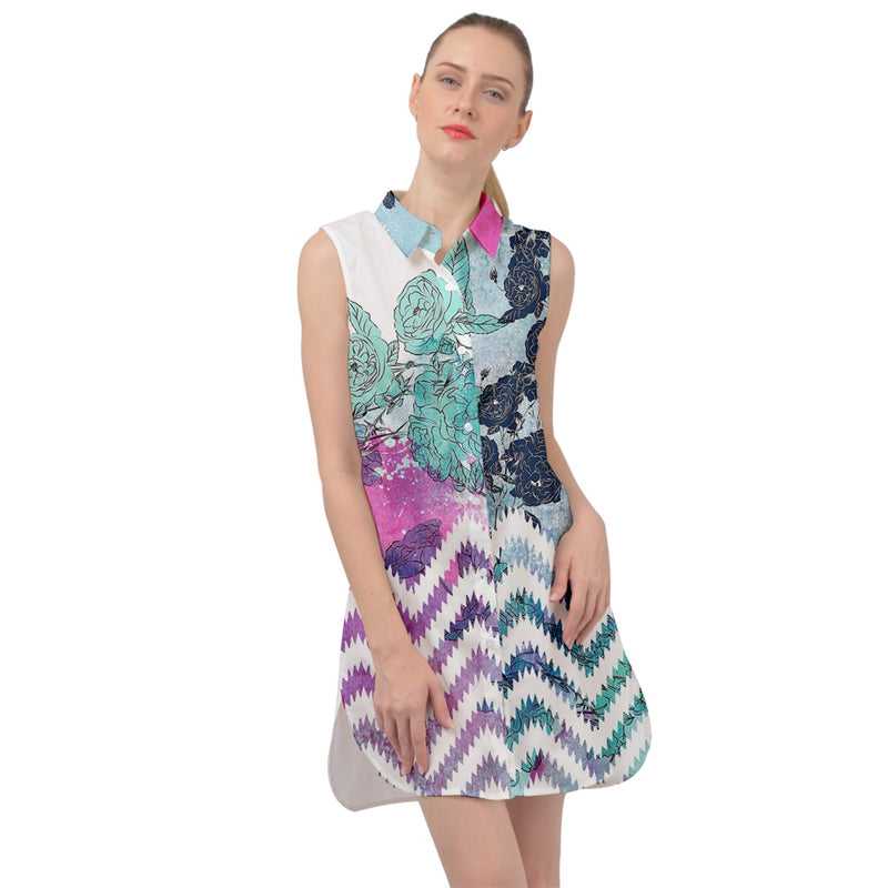 2857 - Colorful Floral Sleeveless Skater Dress