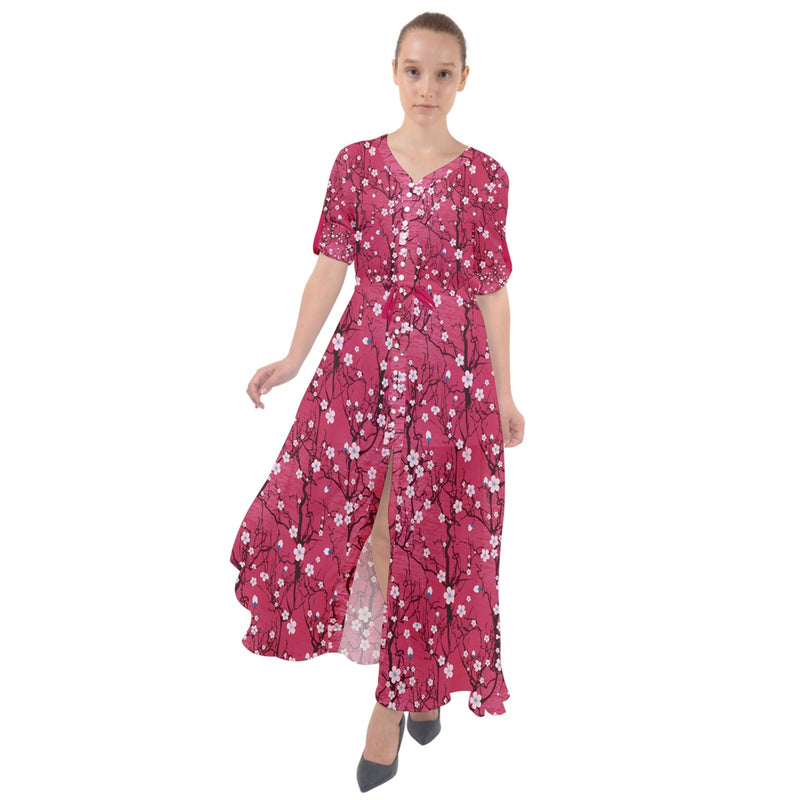 3097 - Hot Pink Japanese Cherry Blossom Tree Pattern Waist Tie Boho Maxi Dress