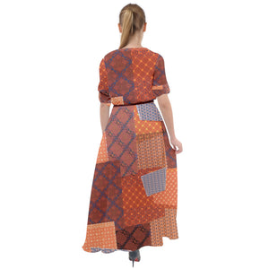 3097 - Brown Patchwork Waist Tie Boho Maxi Dress