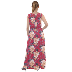 Red Vintage Roses Pattern Chiffon Mesh Maxi Dress