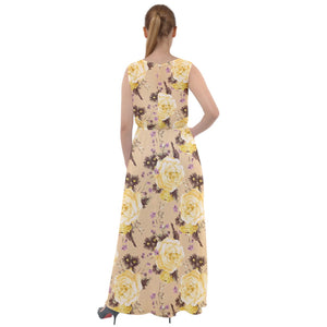 Yellow Vintage Roses Pattern Sleeveless Skater Dress