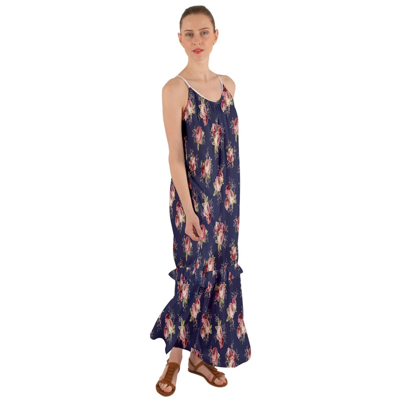 Blue Floral Cami Maxi Ruffle Chiffon Dress