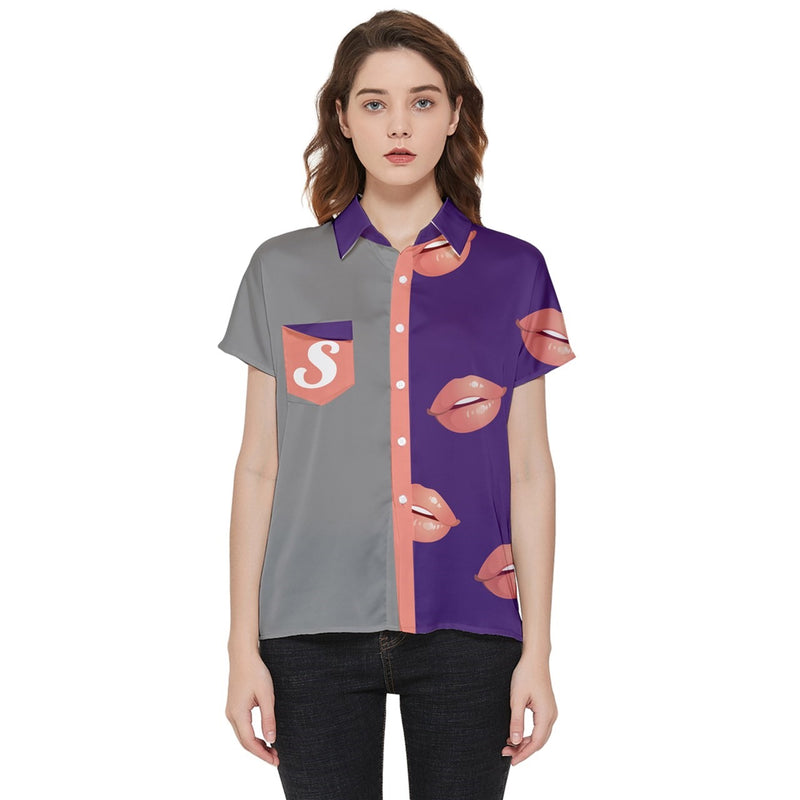 Cute Lips Short Sleeve Pocket Shirt