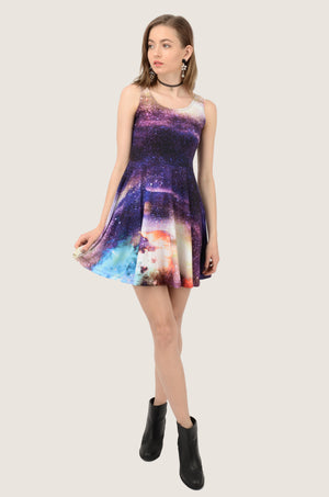 Dark Purple Starry Night Skater Dress