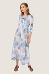 Soft Feather Button Up Boho Maxi Dress