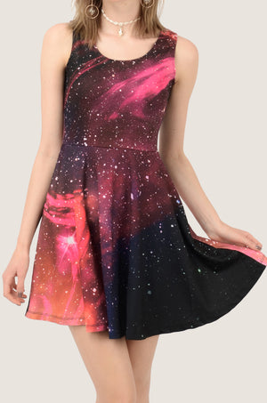 Dark Pink Star River Skater Dress