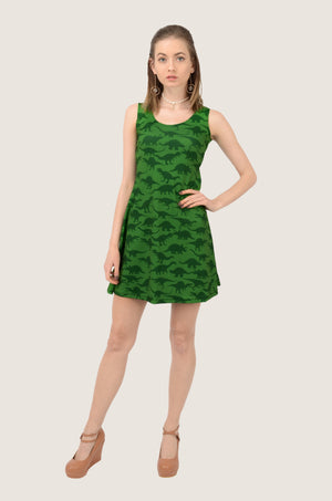 Green Dinosaur Silhouettes Skater Dress