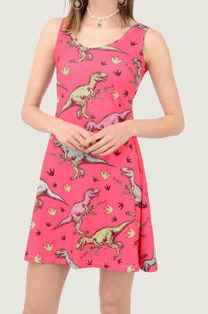 Dinosaur Lovely Pink Skater Dress