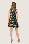 Dark Dinosaur Walking Skater Dress