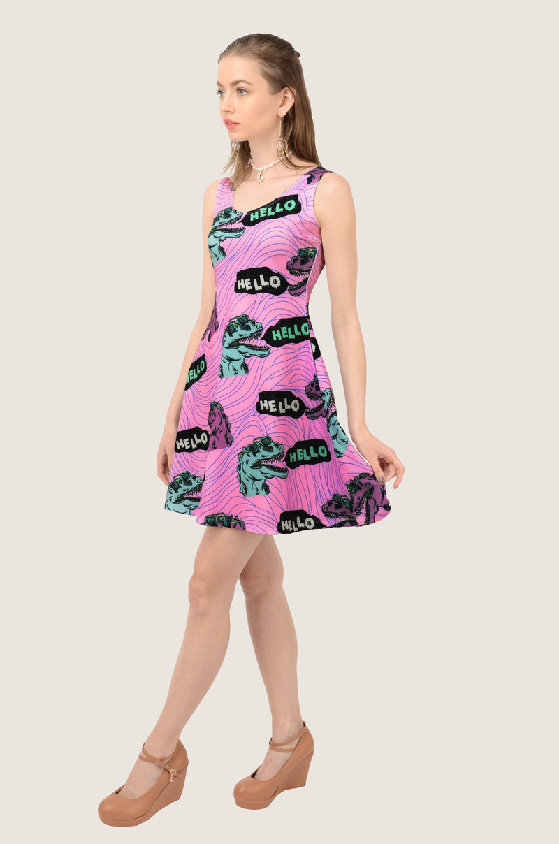 Violet Hello Dino Reversible Sleeveless Dress