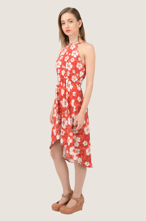 Hawaii Red Holiday High-Low Halter Chiffon Dress