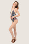 Spring Floral Halter Cut-Out One Piece Swimsuit