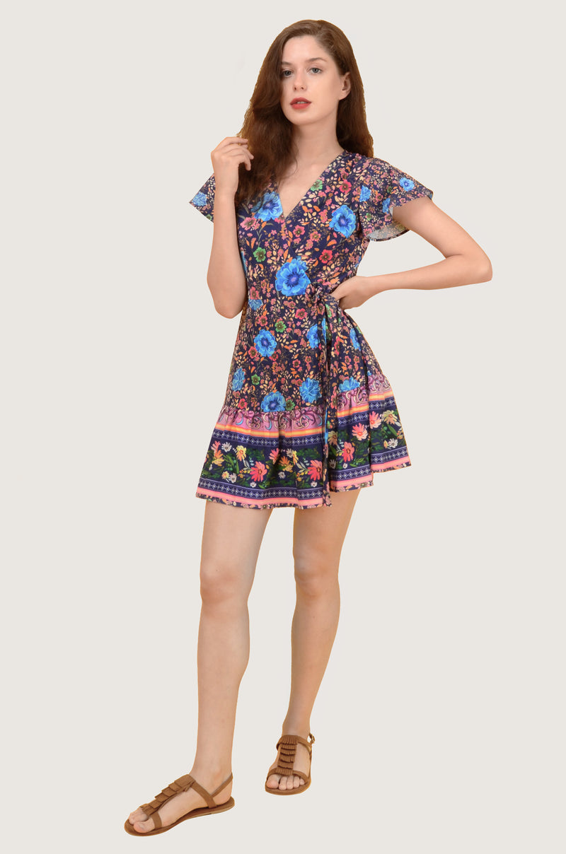 Purple Garden Ruffle A Line Mini Wrap Dress
