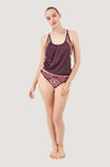 Dark Red Aztec Tankini Set