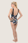 Butterfly Dark Cross Front Low Back Swimsuit