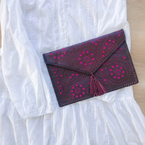 Boho Clutch in Burgundy