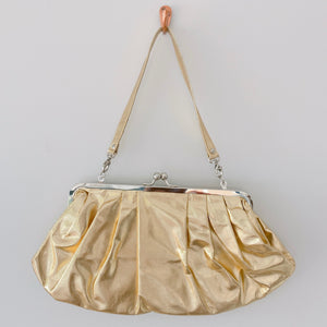Ruched Clutch in Gold