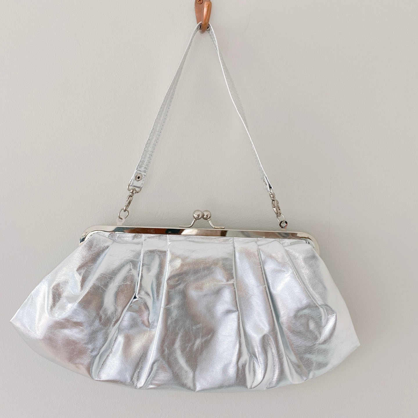 Ruched Clutch in Silver