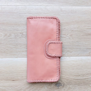 Cross Stitch Wallet in Dusty Pink