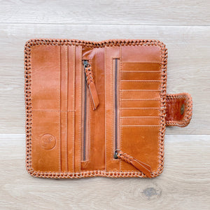 Cross Stitch Wallet in Vintage Tan