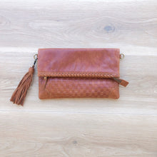 Load image into Gallery viewer, Cross Stitch Clutch in Vintage Tan