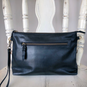 Double Zipped Leather Clutch in Black