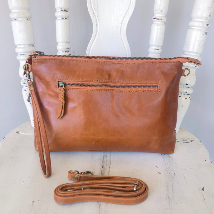 Double Zipped Leather Clutch in Vintage Brown