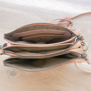Double Zipped Coin Purse in Blush Pink