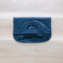 Load image into Gallery viewer, Foldover Black Leather Clutch