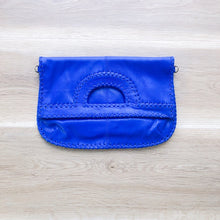 Load image into Gallery viewer, Foldover Electric Blue Leather Clutch