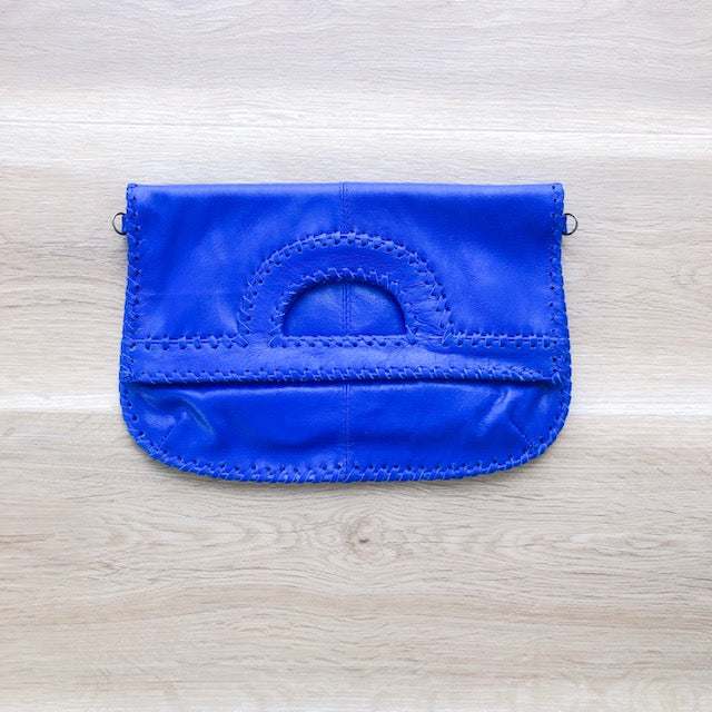 Foldover Electric Blue Leather Clutch