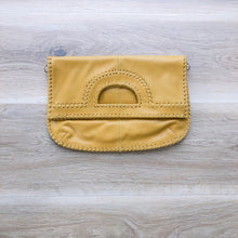 Load image into Gallery viewer, Foldover Mustard Leather Clutch