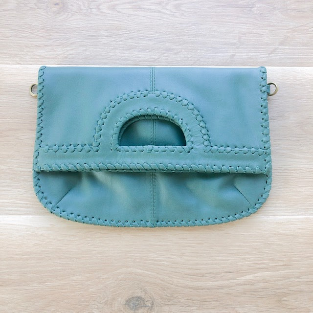 Foldover Soft Green Leather Clutch