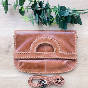Foldover Vintage Brown Leather Clutch