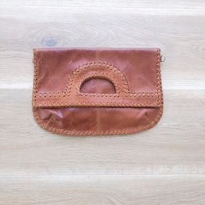 Foldover Vintage Tan Leather Clutch
