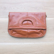 Load image into Gallery viewer, Foldover Dark Tan Leather Clutch