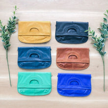 Load image into Gallery viewer, Foldover Soft Green Leather Clutch