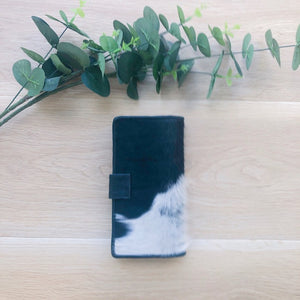 Cowhide Leather Purse in Black and White