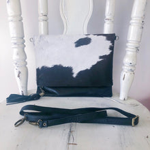 Load image into Gallery viewer, Cowhide Leather Foldover Clutch in Black