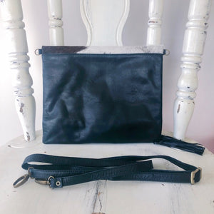Cowhide Leather Foldover Clutch in Black