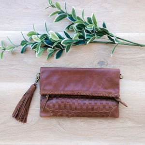 Cross Stitch Clutch in Brown