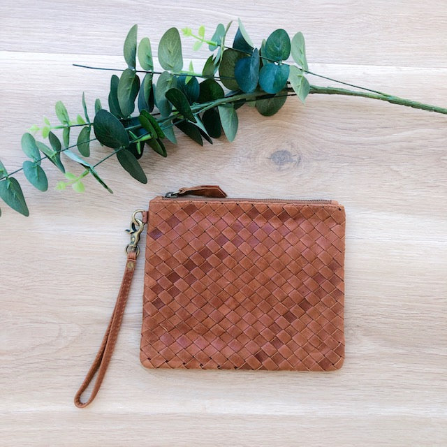 Cross Stitch Leather Coin Purse in Vintage Tan