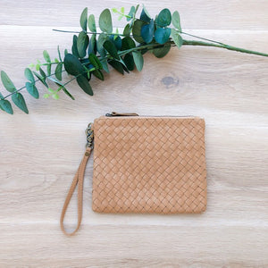 Cross Stitch Leather Coin Purse in Light Tan