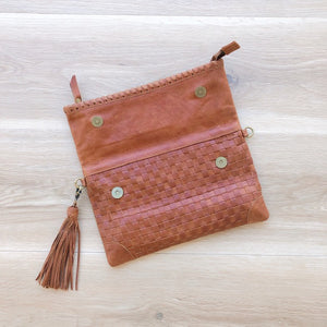 Cross Stitch Clutch in Vintage Tan
