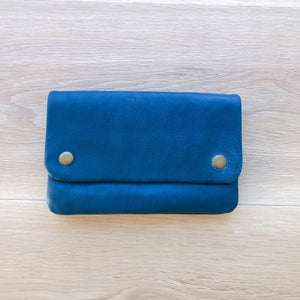 Leather Stud Purse in Vintage Blue