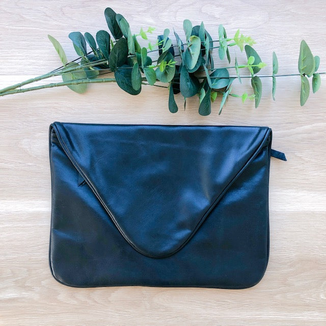 Large Leather Clutch in Black