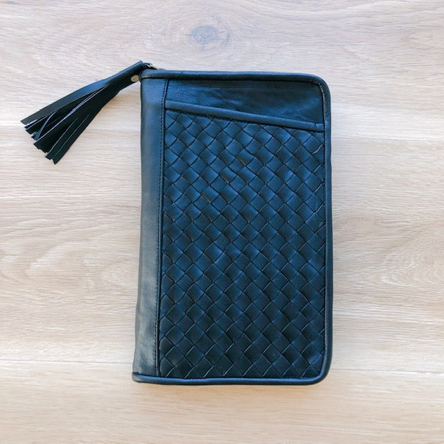Cross Stitch Leather Travel Wallet in Black
