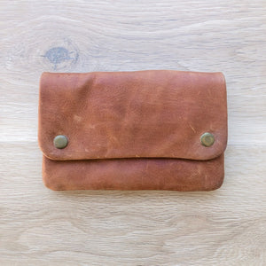 Leather Stud Purse in Vintage Tan