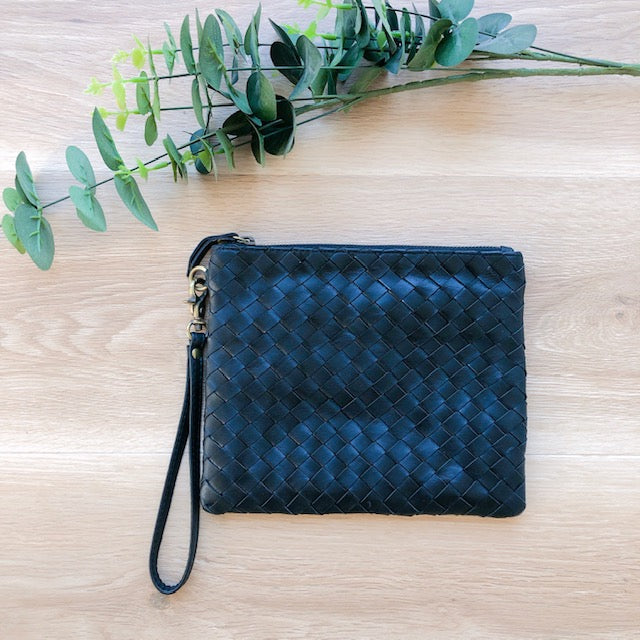 Cross Stitch Leather Coin Purse in Black