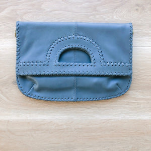 Foldover Light Grey Leather Clutch